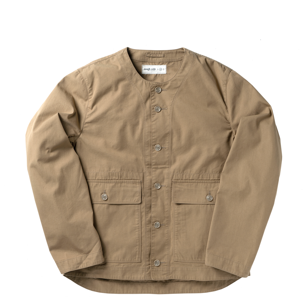 ROUGH SIDECollarless Jacket(Beige)30% Off