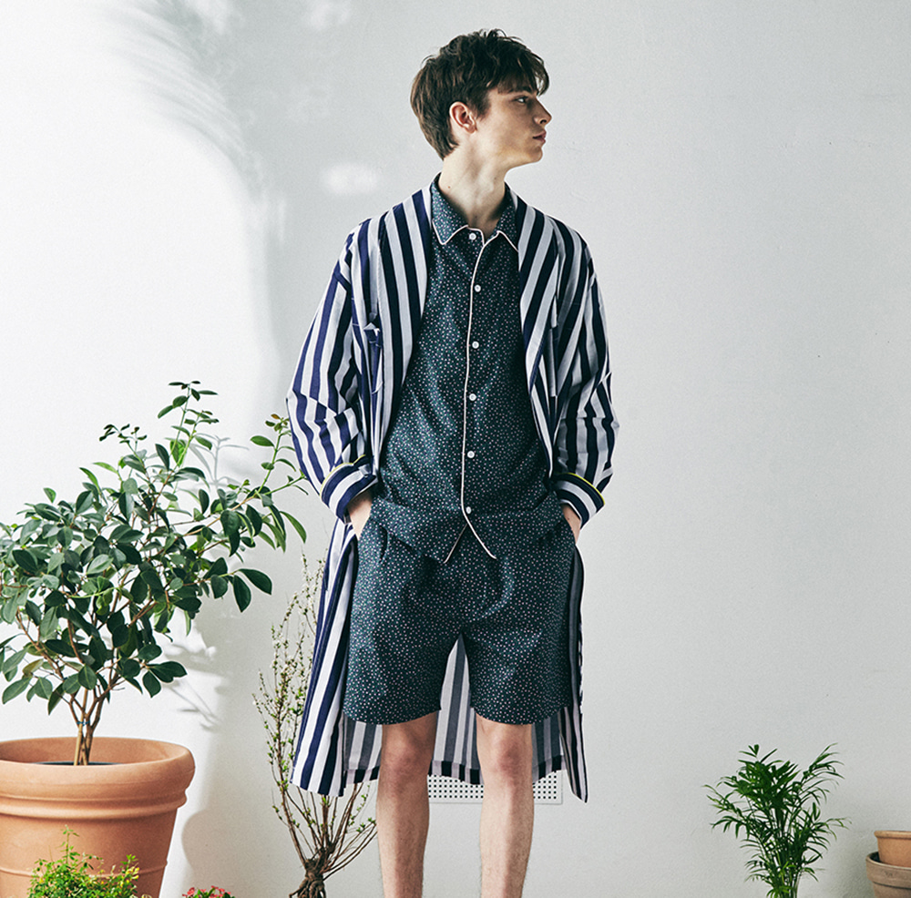 MONOPISPA(M) Buffalo Robe Coat(Stripe Navy)