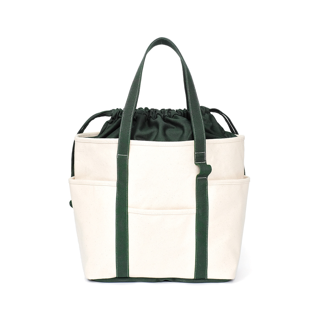 MAZI UNTITLEDCafe Tote Canvas(Ecru/Green2)