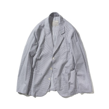 POTTERYWashed Sports Jacket Supima Cotton Seersucker(Light Grey)