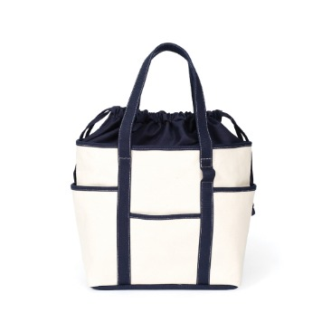 MAZI UNTITLEDCafe Tote Canvas(Ecru/Navy2)