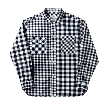 NAMER CLOTHINGBluer Check Mix Shirts(Navy)