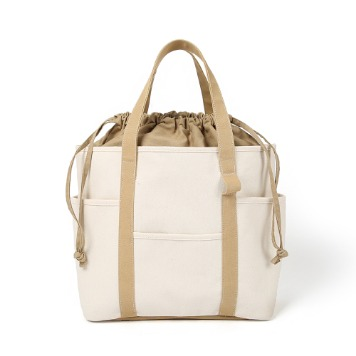 MAZI UNTITLEDCafe Tote Canvas(Ecru/Tan)