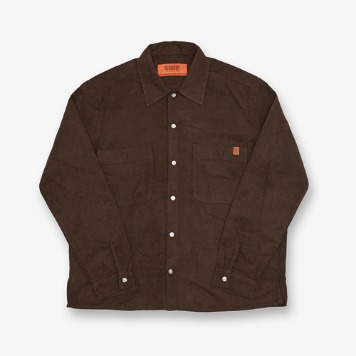 UNIVERSAL OVERALLUnisex Open Collar Shirts Long Sleeve (Brown)