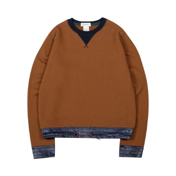 TOEColor Block Sweat Shirt(Brown)35% Off