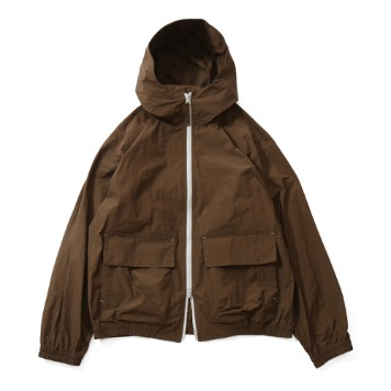 HORLISUNBreeze Nylon Hood Zip Up Jacket(Brown)10% Off