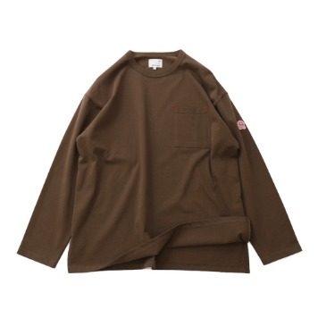 HORLISUNLawrence Overfit Long Sleeve Pocket T(Light Brown)