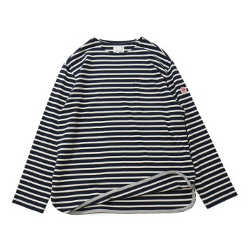 HORLISUNUnisex Union Pocket Stripe Seasonal T(Navy/Cream)