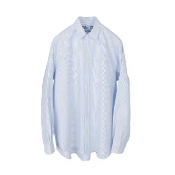KICK THE BEAT X TEXT SLNCUnisex Relaxed Oxford Shirts(Blue Candy Stripe)