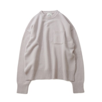 HORLISUNNorthyork Crewneck Slit Heavy Knit(Snow Gray)10% Off