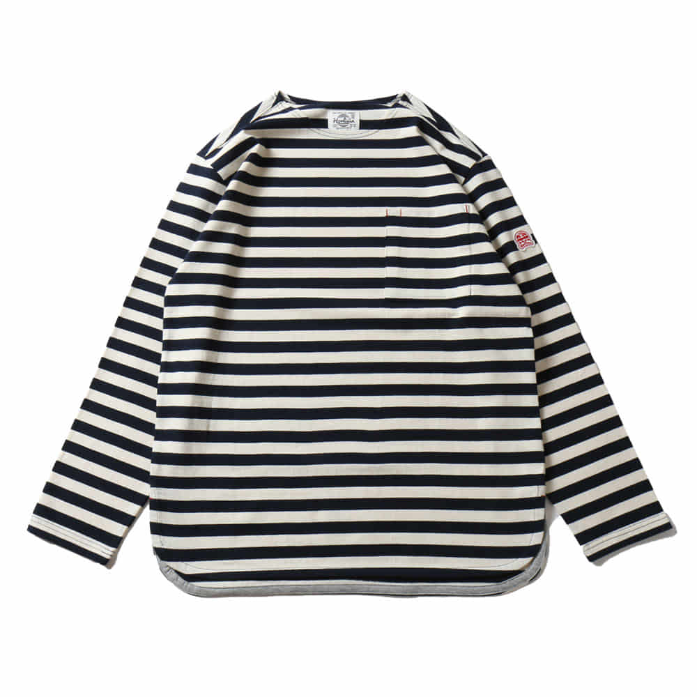 HORLISUNUnion Pocket Stripe Seasonal T-shirts(Fine Navy)10% Off