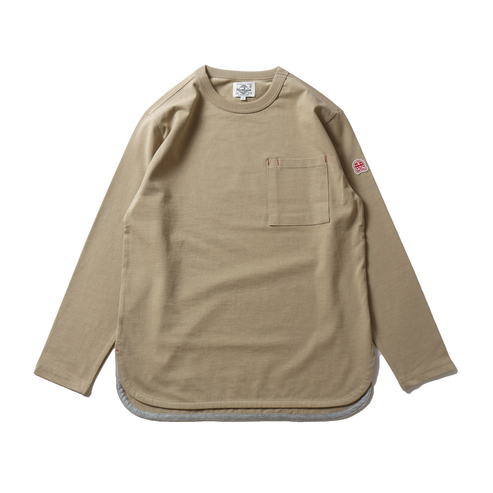 HORLISUNEmery Long Sleeve Pocket Seasonal T-shirts(Olive Beige)10% Off