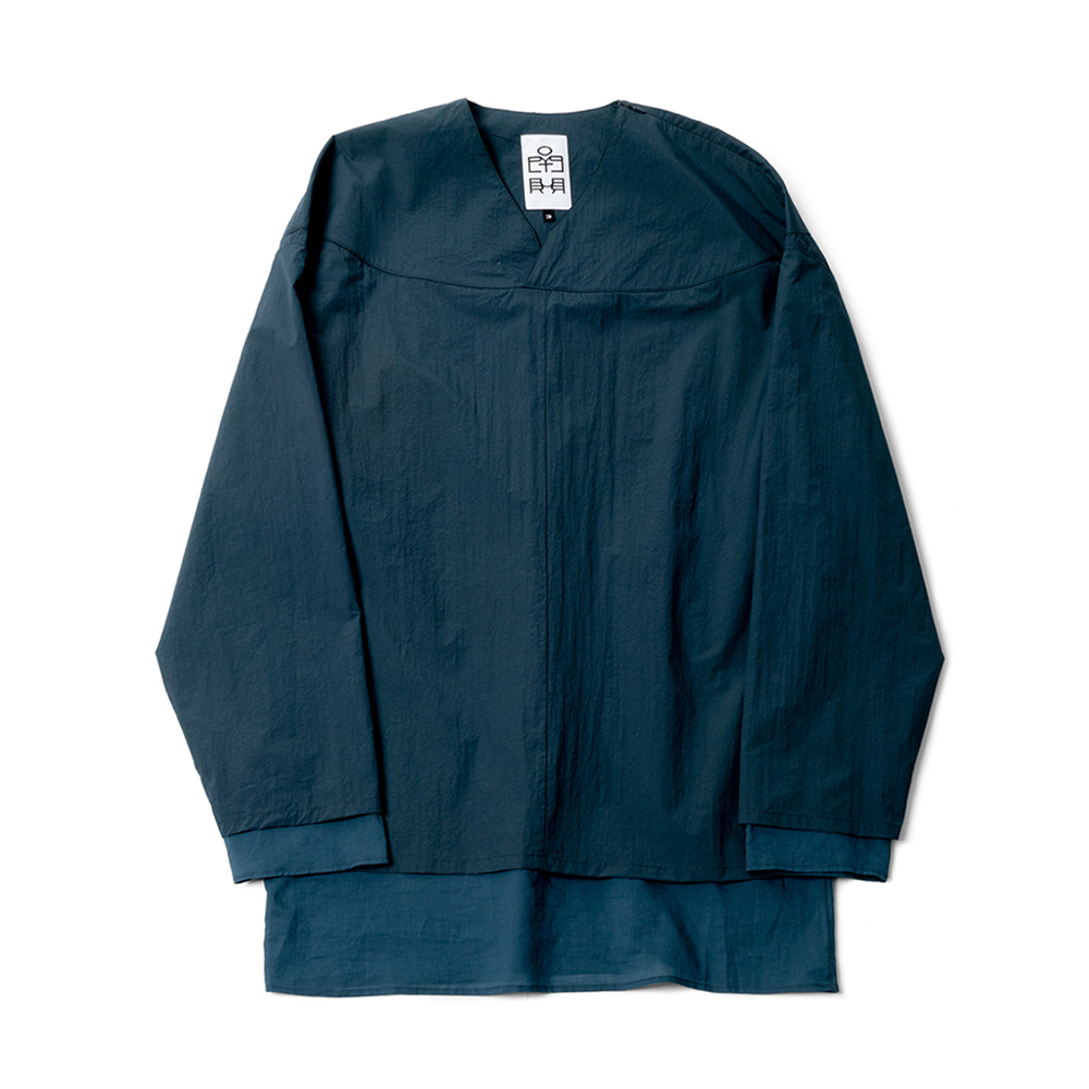 POLYTERULayered Pullover Shirts(Blue Green)