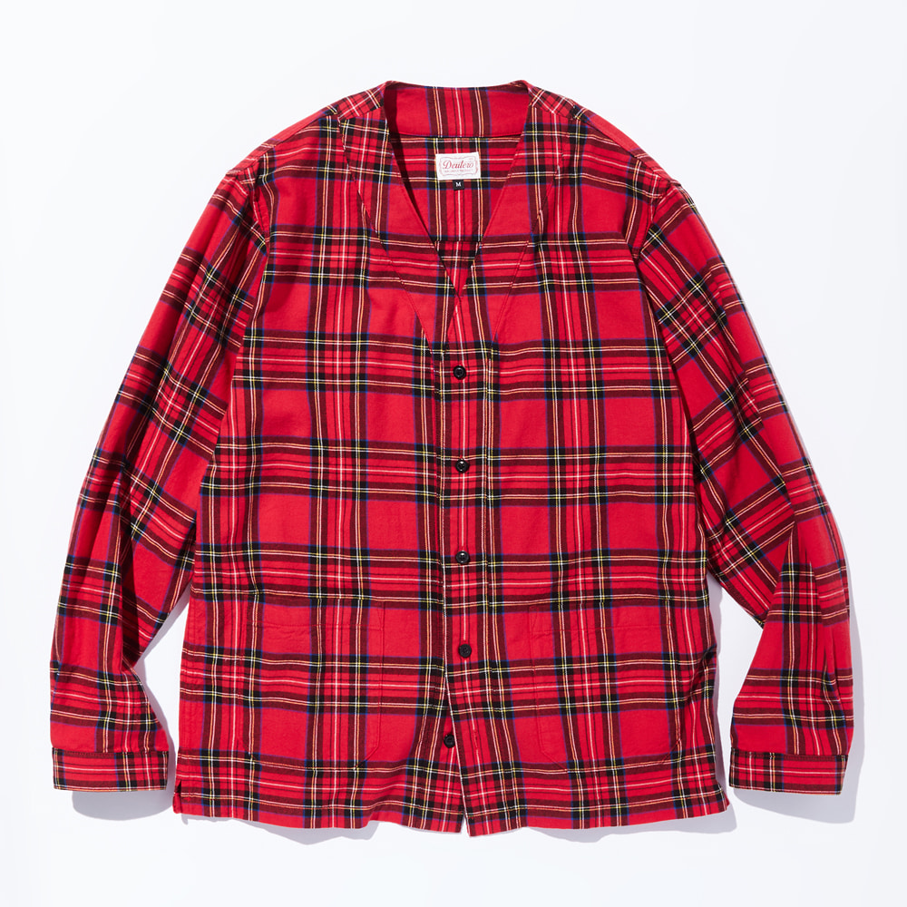 DEUTERODTR1904 Cardigan Check Shirts(Red)