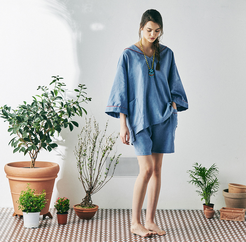 MONOPISPA(W) SAM Short Sleeve PJ Set(Arctic Blue)