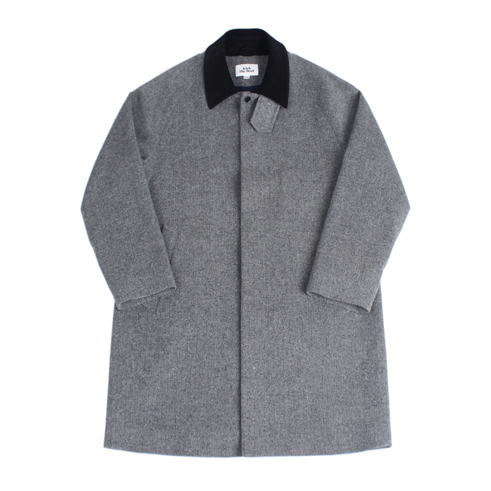 KICK THE BEATUnisex Wool Mac Coat(Grey Herringbone)