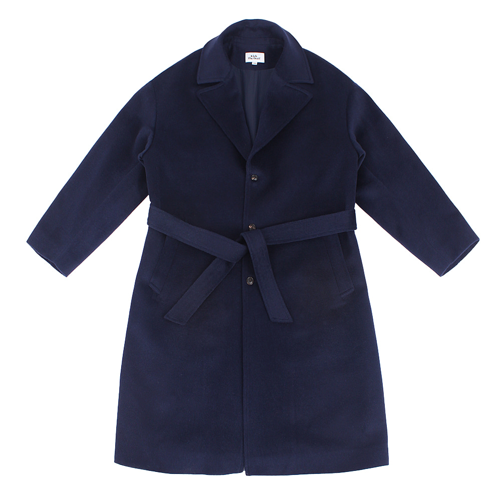 KICK THE BEATBelted Alpaca Wool Coat(Navy)
