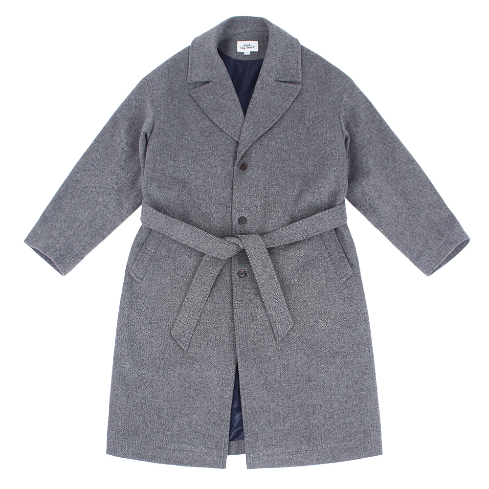 KICK THE BEATUnisex Belted Wool Coat(Grey Herringbone)