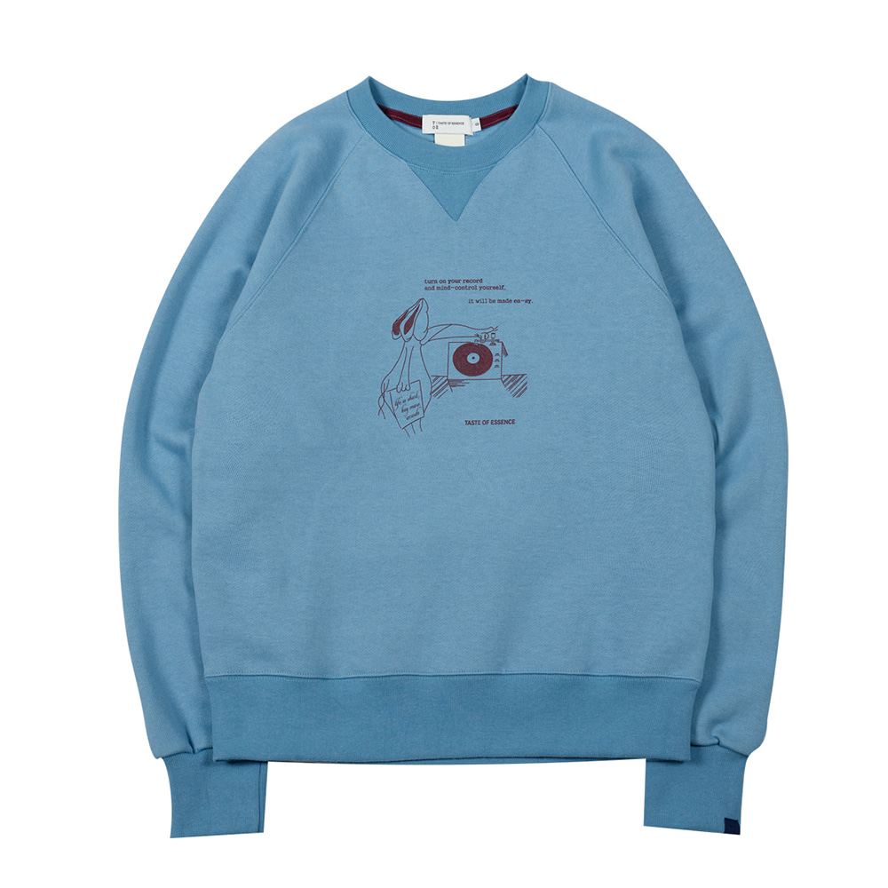 TOEHare Printed Sweat Shirt(Dusty Blue)35% Off
