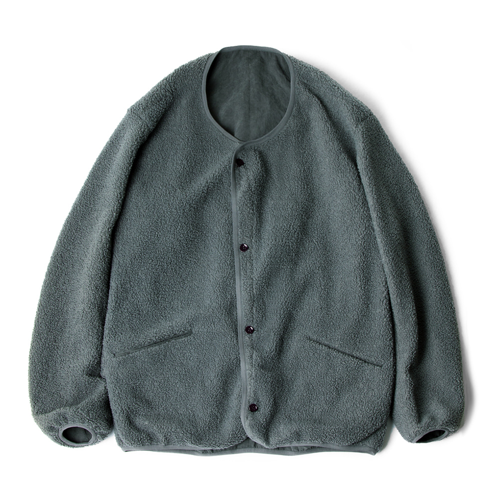 POLYTERUReversible Fleece Cardigan(Charcoal Green)