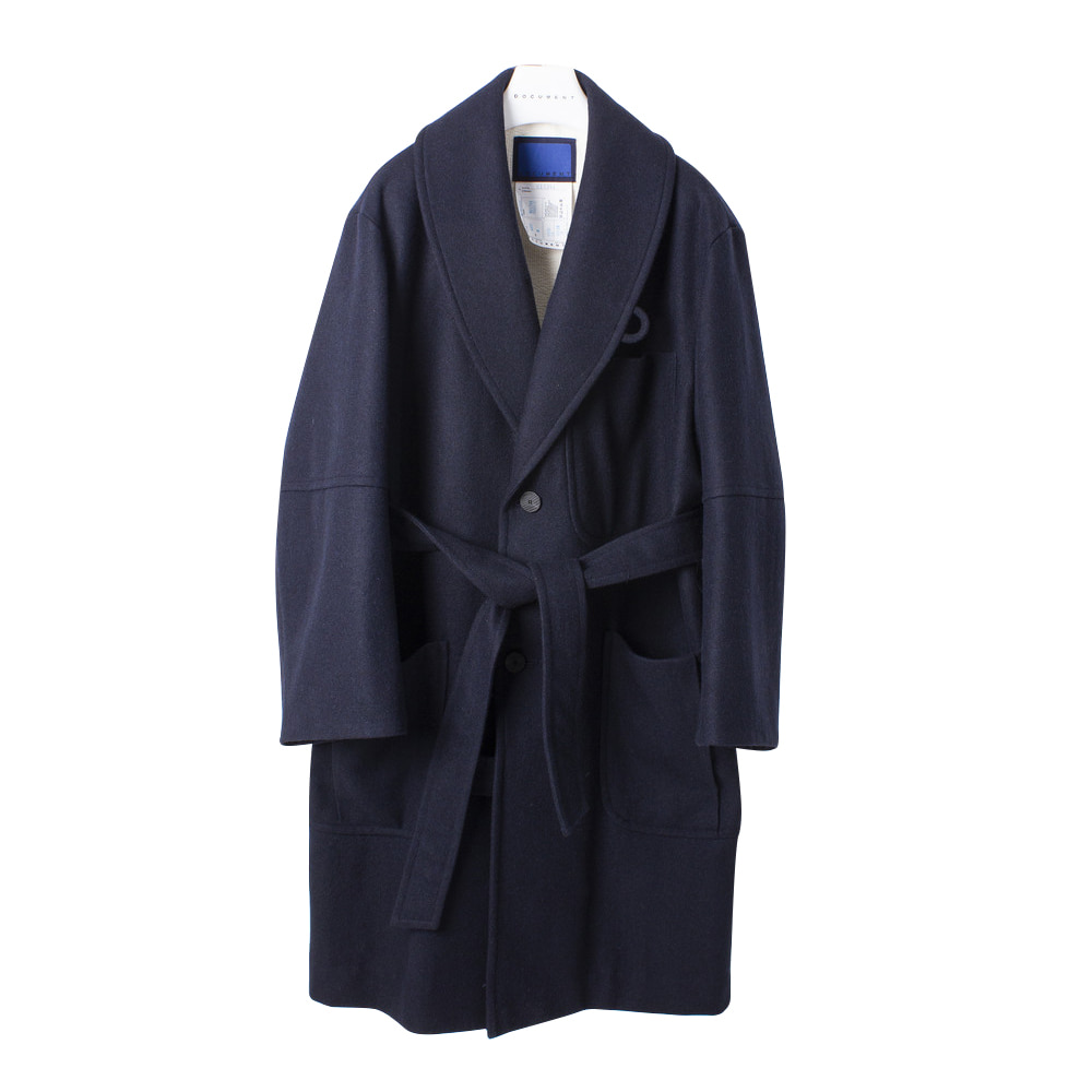 DOCUMENTWool Melton Big Robe Coat(Navy)30% off