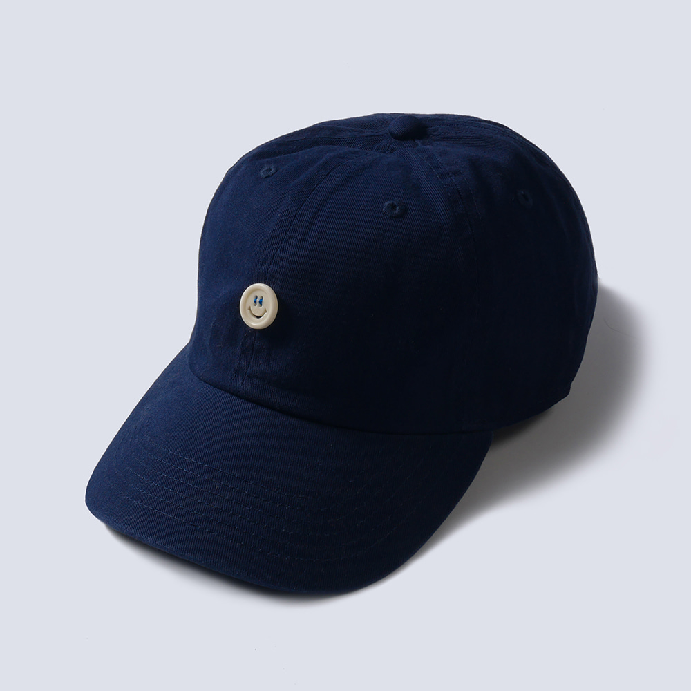 NAMER CLOTHING x TEXT SLNC*RE STOCK*Smile Button Cotton Cap(Navy)