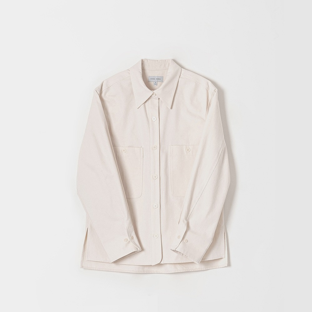 DONA DONATwo Pocket Atelier Shirts(Oatmeal)40% OFF